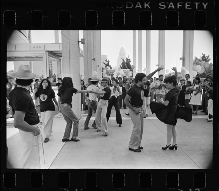 """""""Zoot Suit"""" cast dancing at the Mark Taper Forum. Los Angeles Times Photographic Archive. Department of Special Collections, Charles E. Young Research Library, UCLA."""